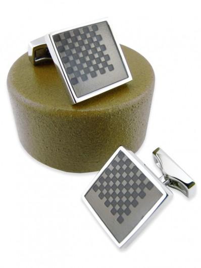 Bouton de manchette carré en émail couleur bronze et rhodium.
