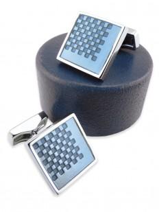 Boutons de manchette à damier en émail bleu pastel et rhodium.