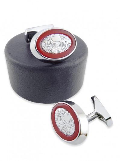 Boutons de manchette ovale en métal gravé et verre Tchèque rouge.