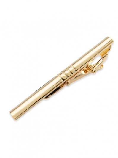 Pince à cravate demi-rond en métal doré