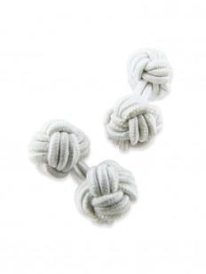 Knot 20 - Bouton de manchette en passementerie blanche