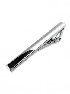 Pince à cravate en chrome et émail noir.