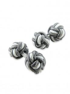 Knot 50 - Bouton de manchette en passementerie blanche et gris fer.