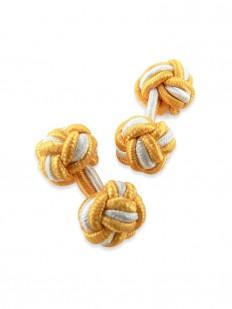 Knot 170 - Bouton de manchette en passementerie jaune aurore et blanche