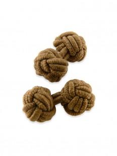 Knot 280 - Bouton de manchette en passementerie brun clair