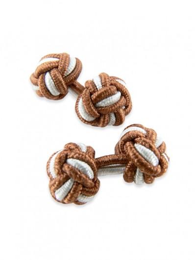 Knot 290 - Bouton de manchette en passementerie brun clair et blanche