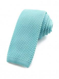 Cravate tricot bleu aigue-marine