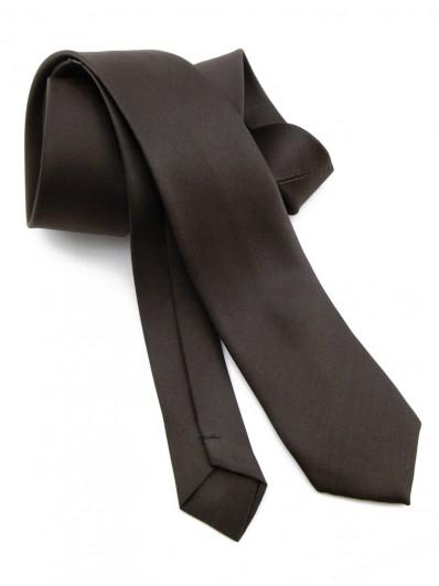 Cravate slim marron chocolat