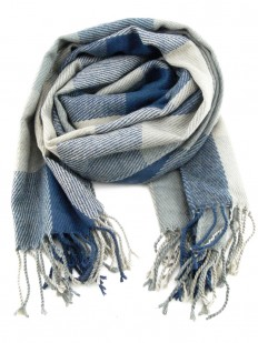 Écharpe gris et bleu