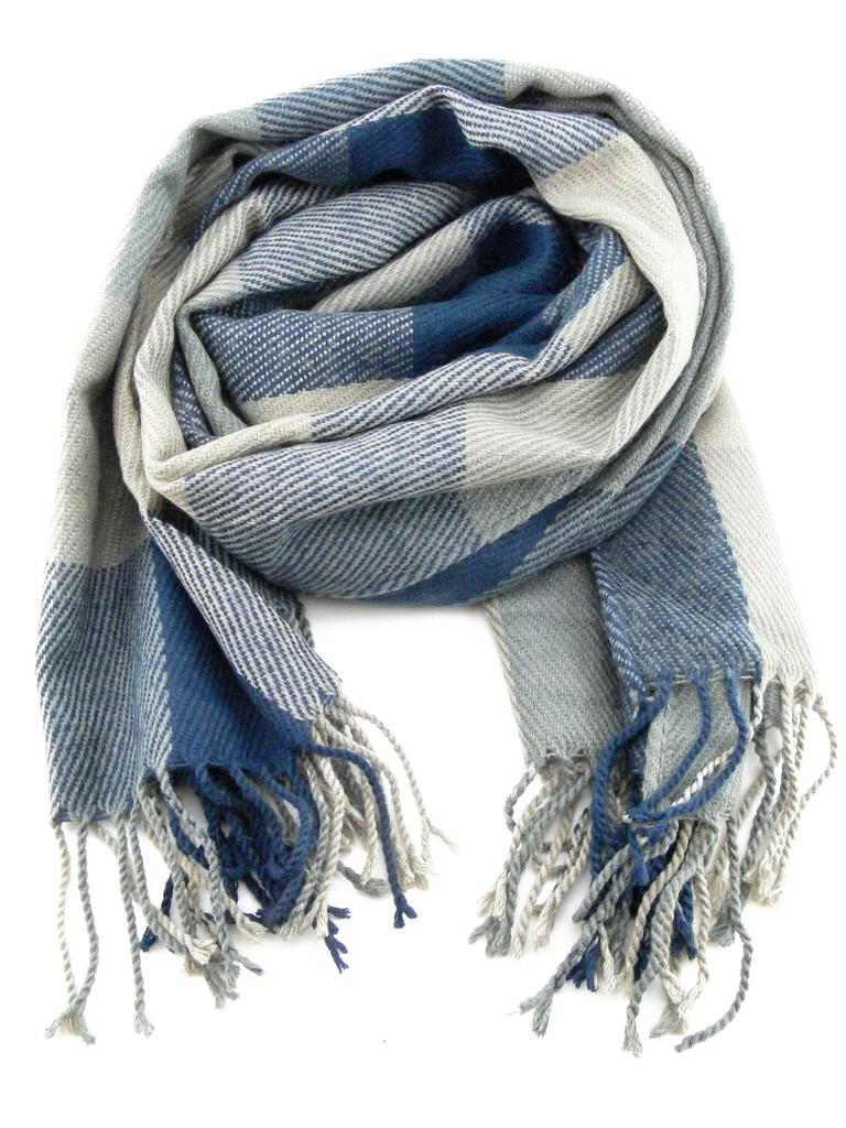 charpe homme ou femme laine de couleur gris et bleu. Black Bedroom Furniture Sets. Home Design Ideas