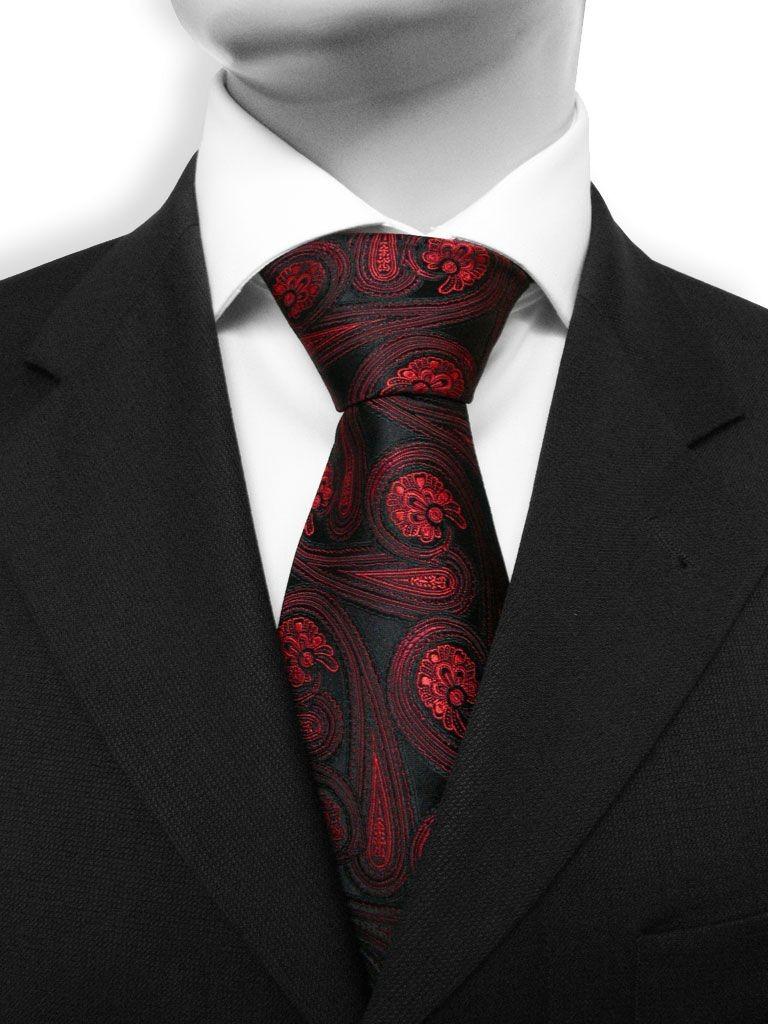 33e43266d890d ... Paisley 50 - Cravate cachemire rouge et noire ...