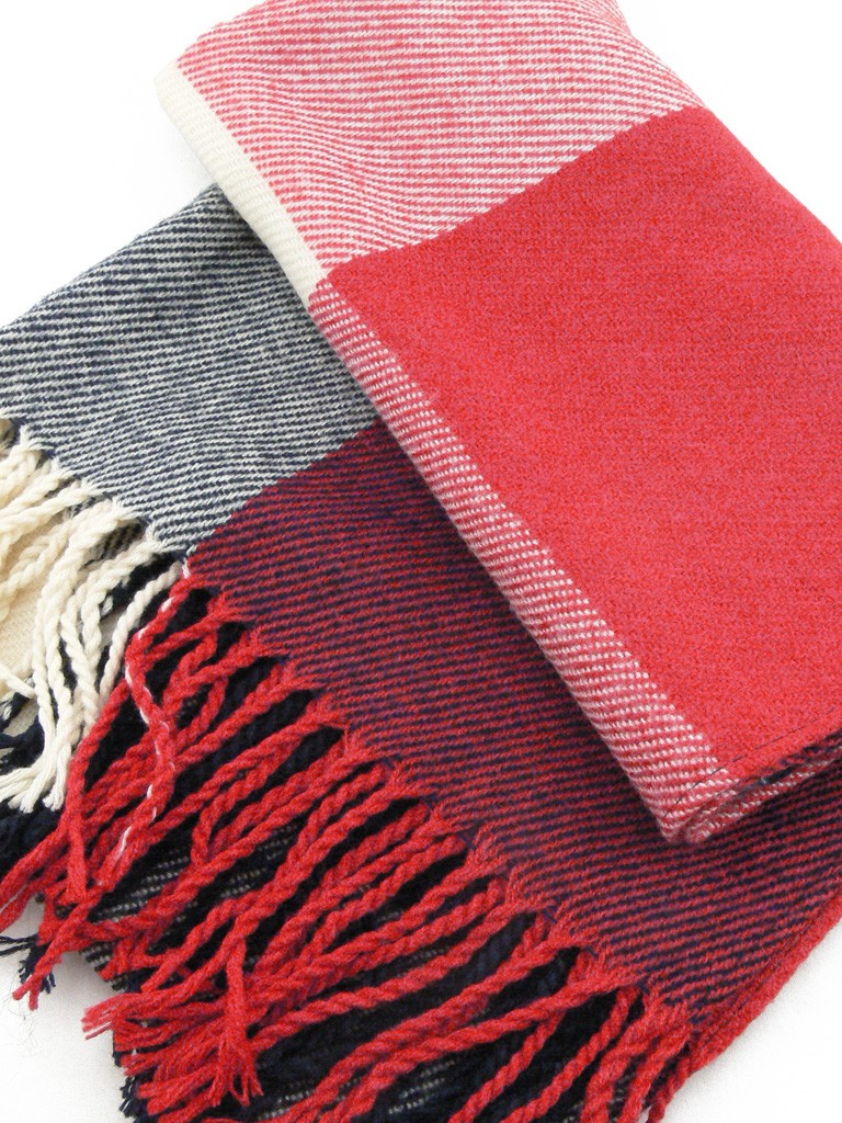 8edab3fff32e Écharpe Homme ou Femme laine de couleur rouge, écru et bleu
