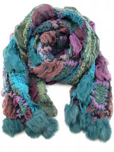 Écharpe tricotée bleu