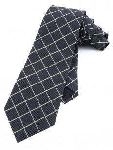 Check 100 - Cravate de couleur blue jean à croisement de lignes vert pastel