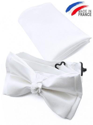 Noeud papillon blanc avec pochette assortie