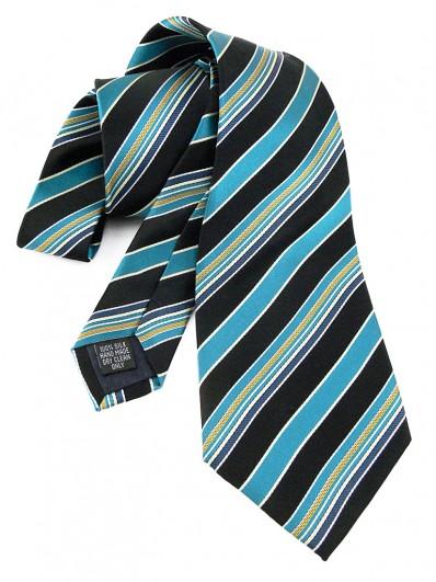 Stripe 210 - Cravate à rayures noires et bleu canard.