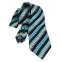 Cravate noire et bleu paon