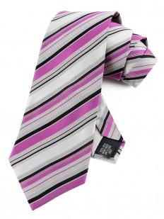 Stripe 200 - Cravate à rayures mauves et noires sur fond gris.