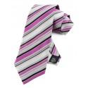 Cravate mauve et noire et grise