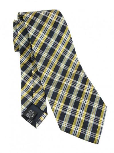Check 120 - Cravate en tartan Écossais jaune et bleu