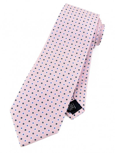 Motive 200 - Cravate rose pâle et motifs carrés bleus et noirs