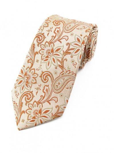 Paisley 70 - Cravate cachemire à fleurs ocres et fond beige