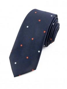 Cravate bleu marine à pois oranges et gris