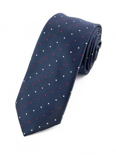 Cravate bleu marine à pois blancs et rouges