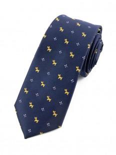 Cravate bleu marine motif chien