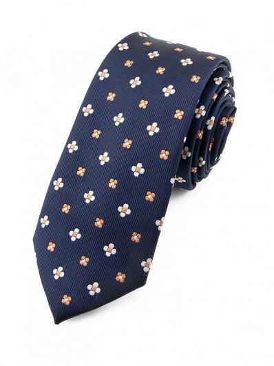 Cravate bleu motif floral