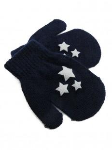 Moufles bleu marine imprimé étoiles