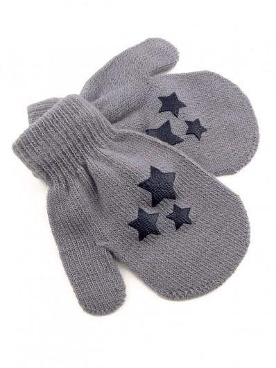Moufles grises imprimé étoiles