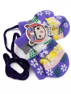 Moufles violettes flocon de neige