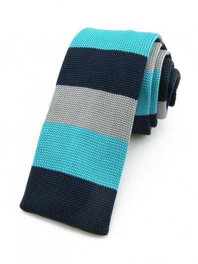 Cravate tricot noire à rayures