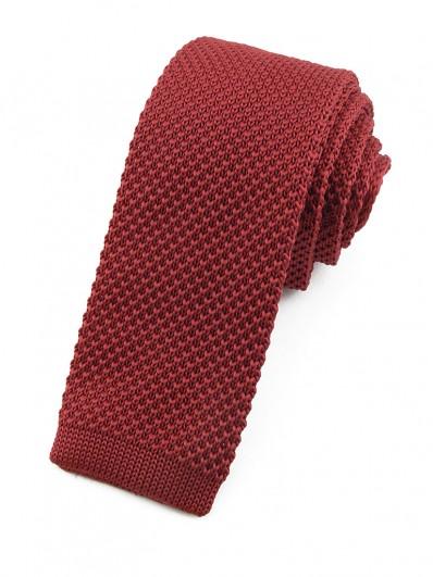 Cravate tricot rouge bordeaux