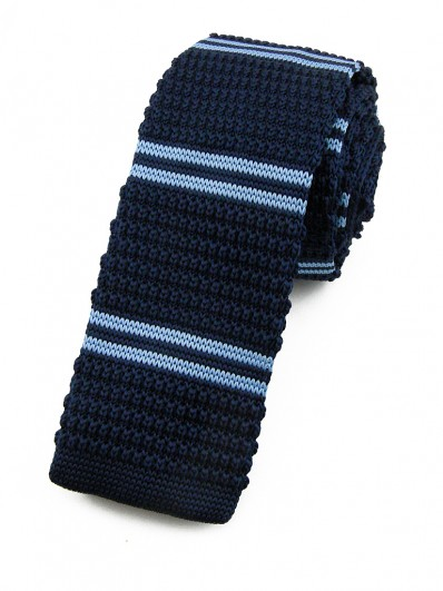 Cravate tricot bleu marine à rayures