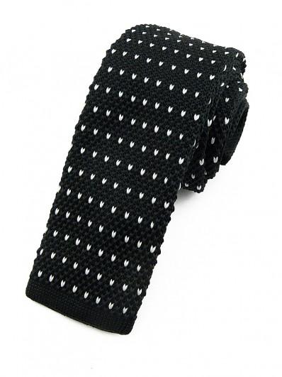 Cravate tricot noire à motifs