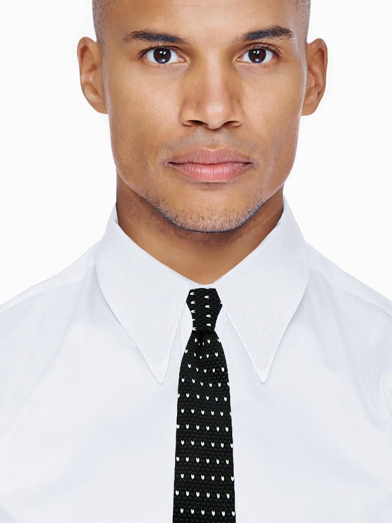 64177d9321c9e Cravate noire tricotée à motif │ Collection tricot EDERTON