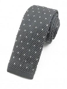 Cravate tricot grise à motifs