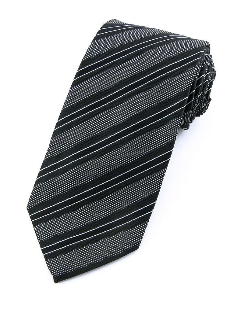 Cravate en soie noire et grise pour homme ederton - Cravate noire homme ...