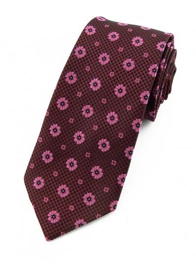 Cravate à reflets noirs et framboise