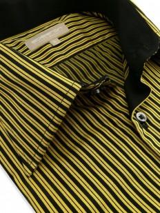 Molly - Chemise Homme rayée noire et jaune