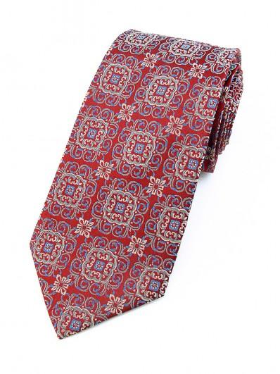 Motive 90 - Cravate Luxe rouge grenadine à motifs et reflets