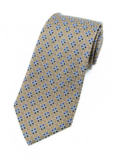 Motive 130 - Cravate mode marron à motifs carrés blancs et pétales bleus