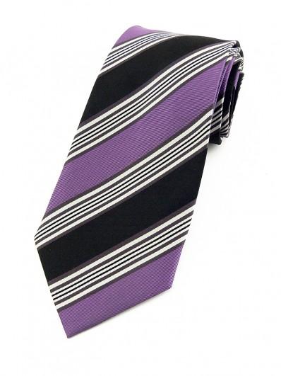 Stripe 270 - Cravate club en soie noire et violine.