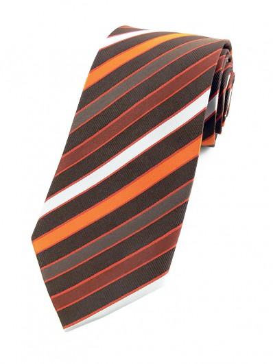 Stripe 260 - Cravate à rayures mordorées et orangées.