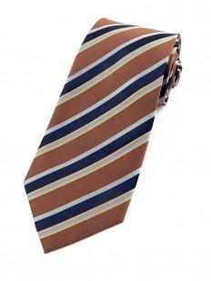 Stripe 160 - Cravate club à rayures bleues, mordorées et orangées.