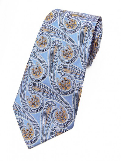 Paisley 60 - Cravate en soie à motif cachemire modernisé bleu clair et abricot.