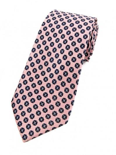 Motive 250 - Cravate rose saumon et motif octogonale bleu marine.