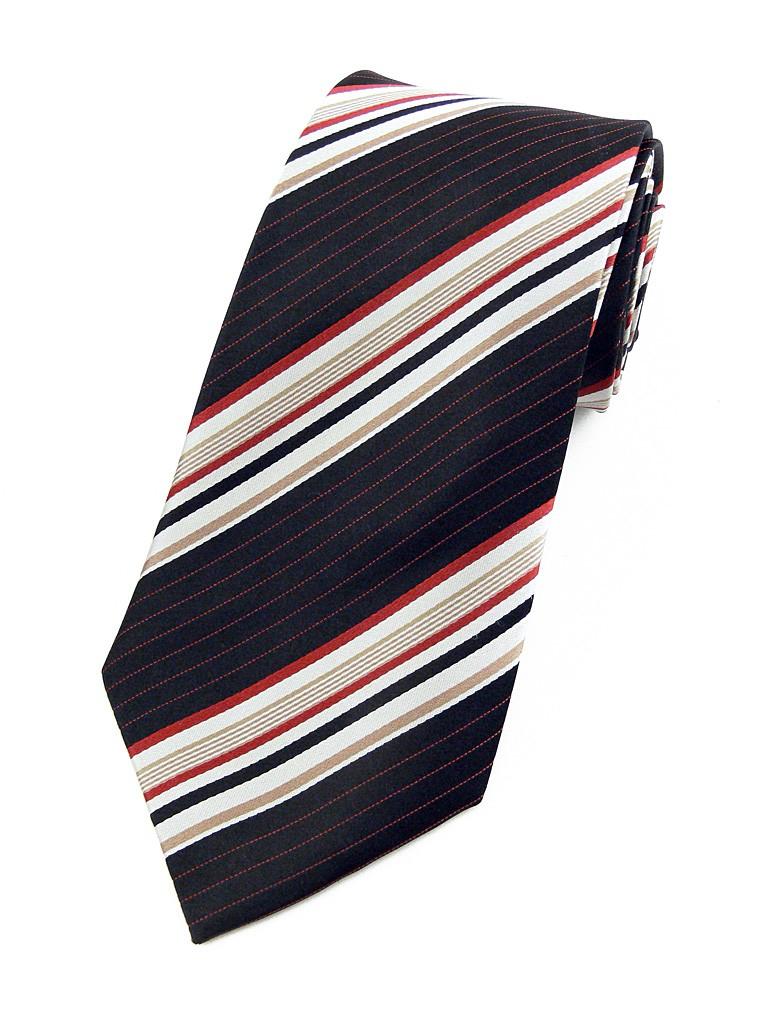stripe 70 cravate noire rayures argent et ocre rouge. Black Bedroom Furniture Sets. Home Design Ideas